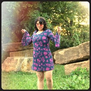 Pink and navy floral dress with fun sleeves!